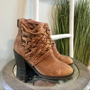 Free People | Carrera Woven Leather Ankle Boots
